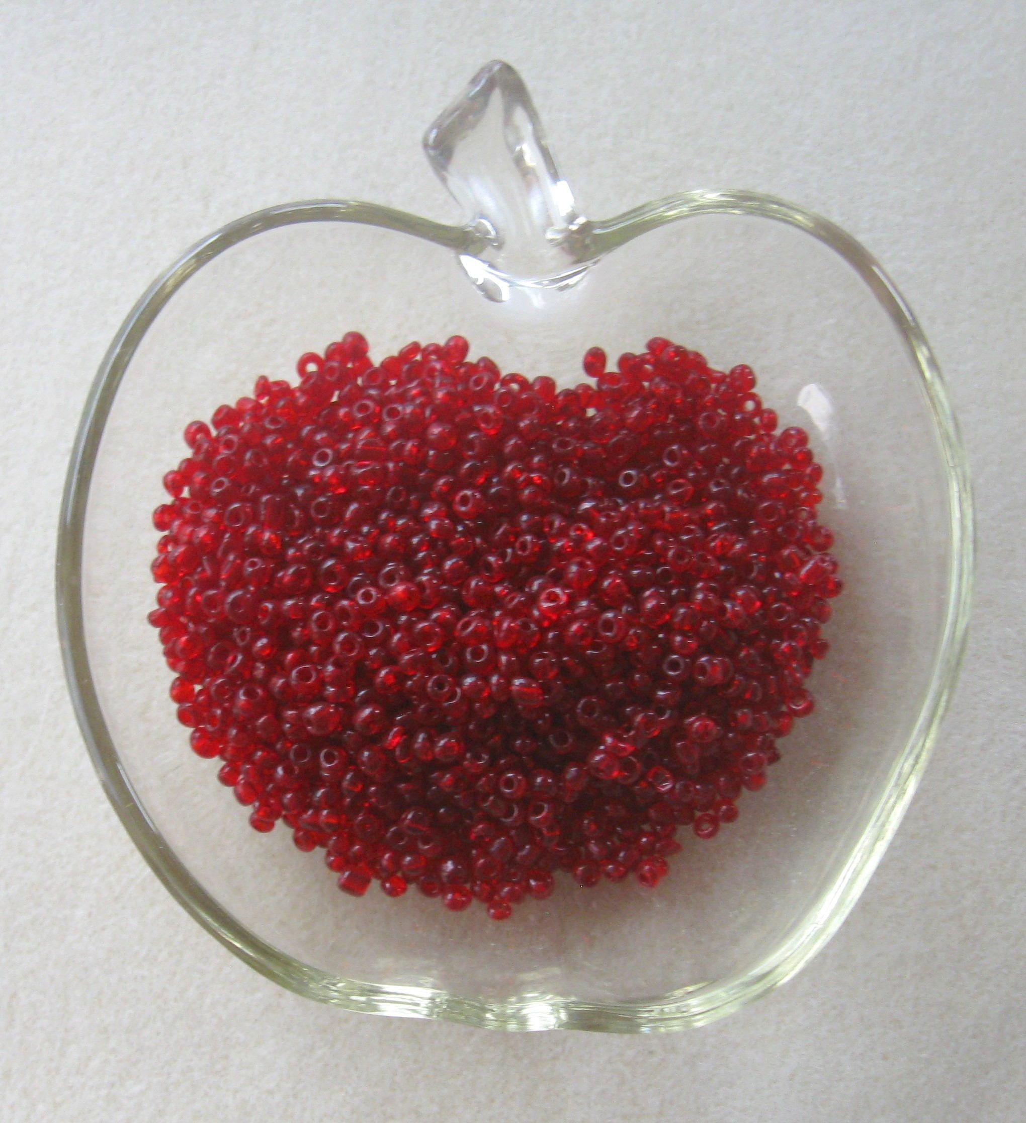 transparent red glass seed beads bead weaving bead embroidery