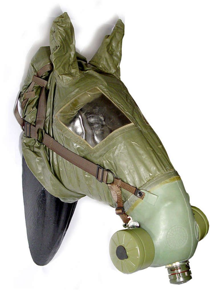 Horse Gas Mask | The full head example is most likely post WWII and used for protecting horses against biological and chemical warfare.