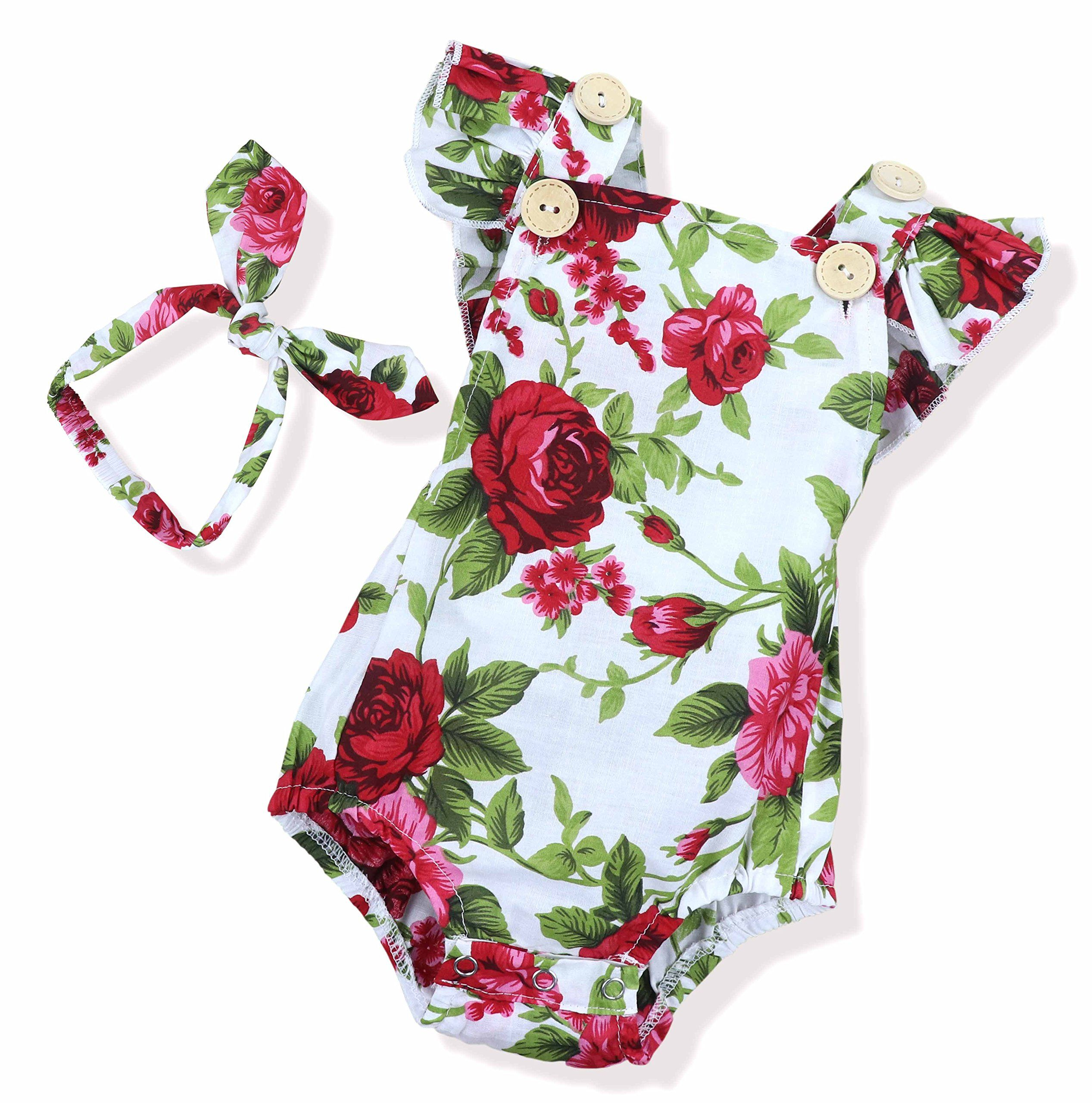 548a5aabcae2 Seyouag Newborn Kids Baby Girls Clothes Floral Jumpsuit Romper Playsuit  Headband Outfits 36Months     Visit the image link more details.