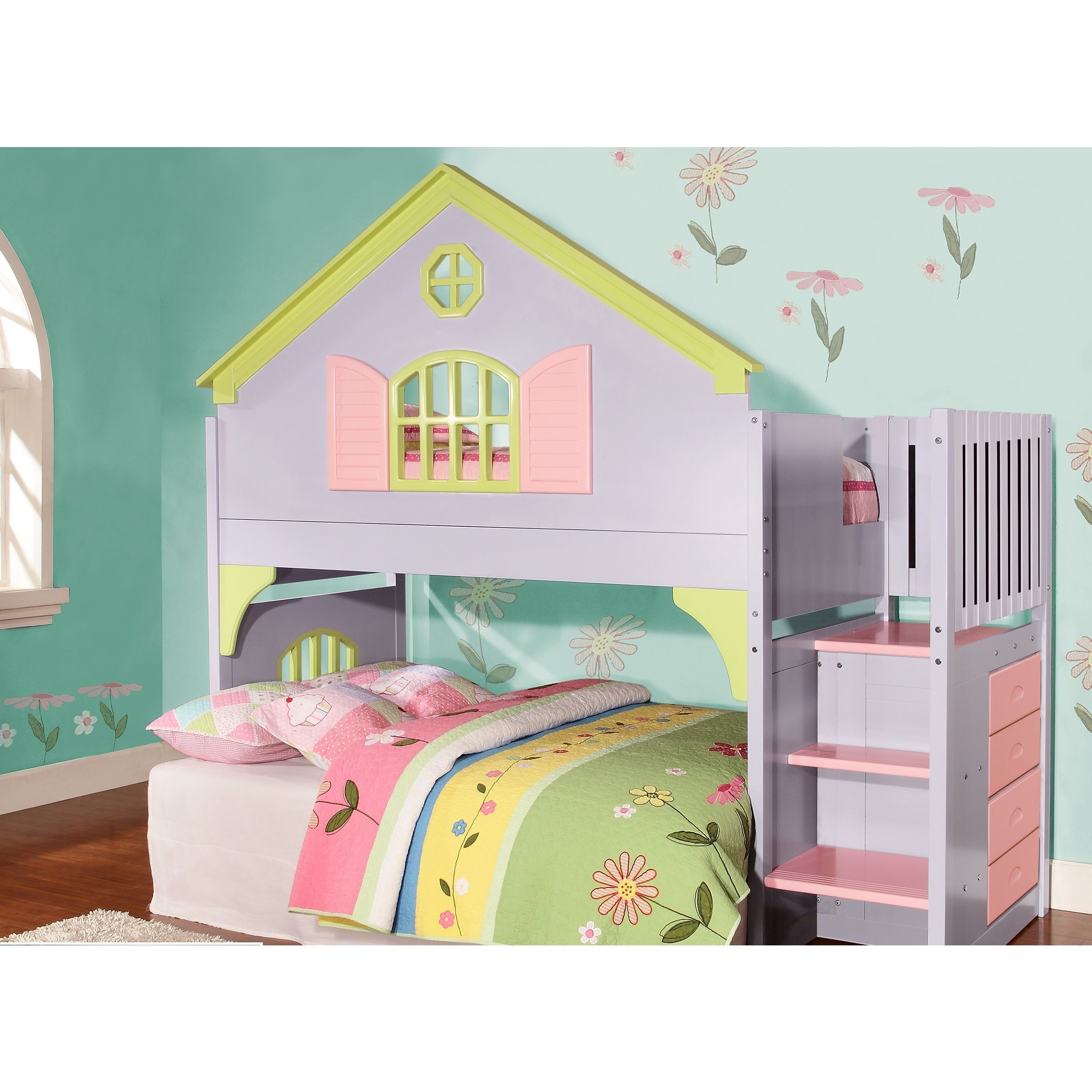 Whimsical Beds Donco Kids Twinsize Doll House Stair Step Loftdonco Kids