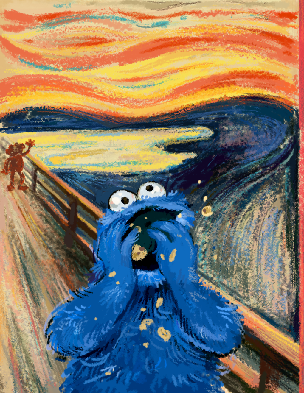 Cookiemonster à La Edvard Munch In 2019 Funny Art Edvard