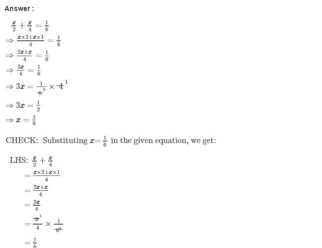 Linear Equations in One Variable CBSE RS Aggarwal Class 7
