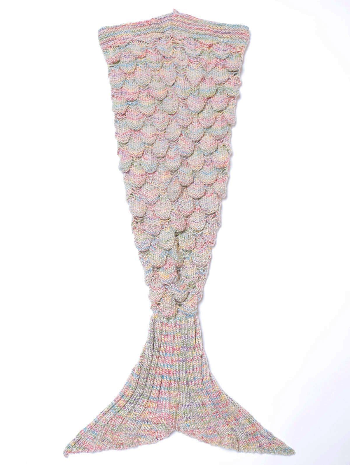 Endearing Multicolored Knitted Stretchy Mermaid Blanket