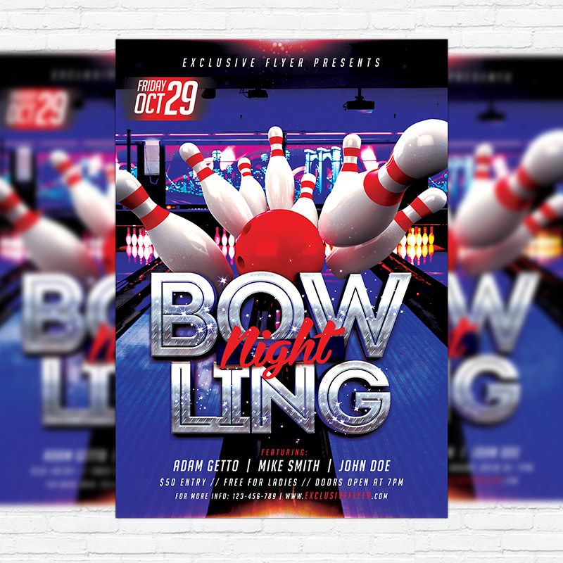 Bowling   Premium Flyer Template + Facebook Cover Http://exclusiveflyer.net/