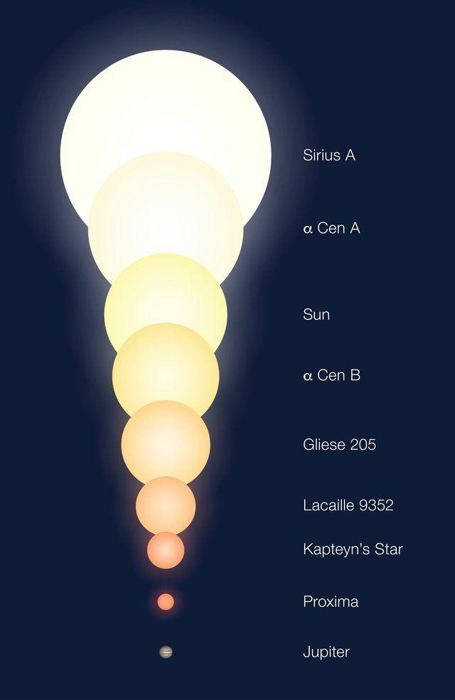 Porovnanie veľkostí niektorých blízkych hviezd. Tretie zhora je Slnko, druhá…