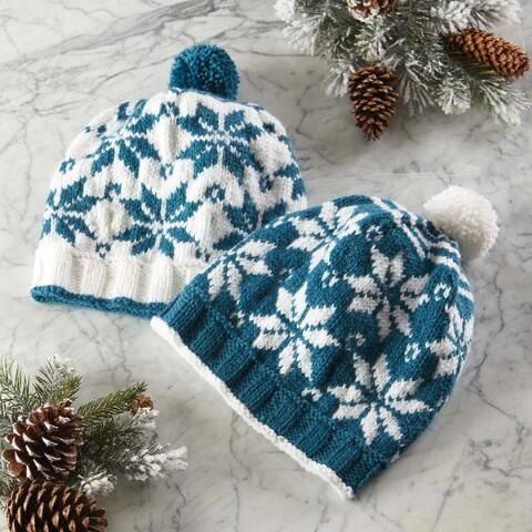 Snowflake Hats Knit Pattern Paid Download | Knitted hats ...