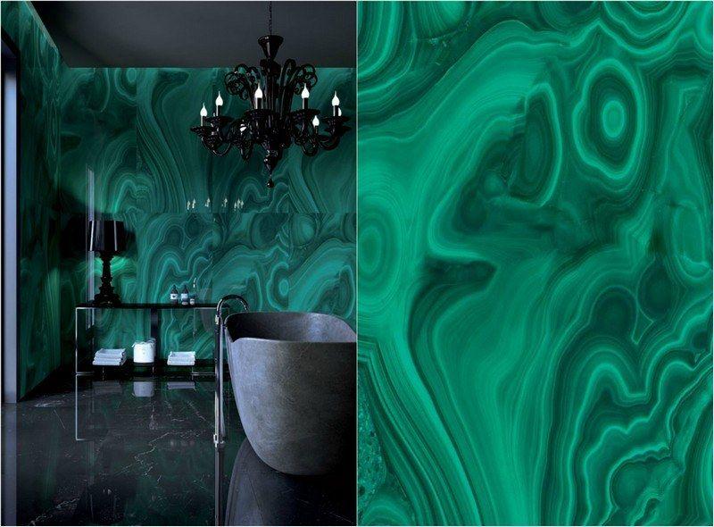 Feinsteinzeug Wand Fliesen für Bad in dunkelgrün - Malachit - alternative zu küchenfliesen