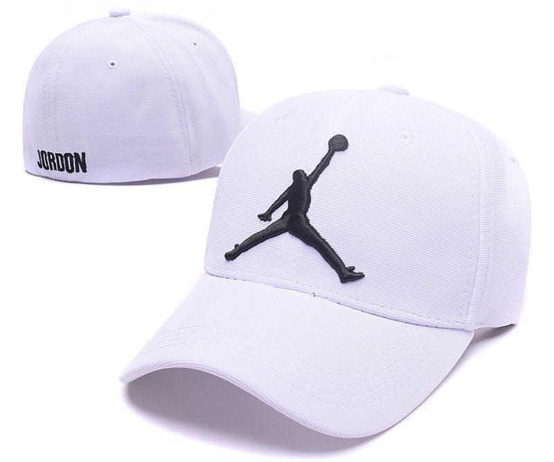 Mens Womens Nike Air Jordan The Jumpman Embroidery Logo Flexfit Hat White Black Jordan Cap Fitted Baseball Caps Air Jordans