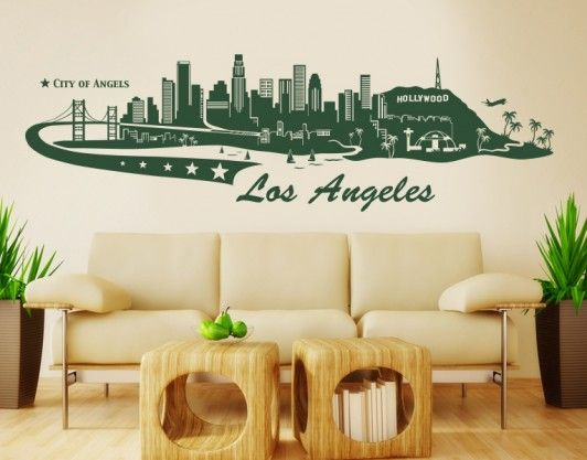 Los Angeles Skyline Wall Decals Wall Tattoo City Of Lost - Custom vinyl wall decals falling off