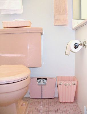 history's dumpster: coloured toilet paper | pink bathroom