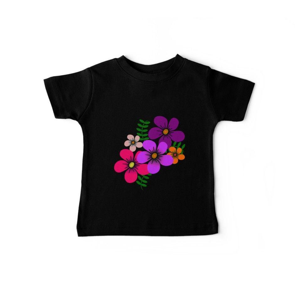 Baby Shirt Kinder Shirt  bunte Blumen Trendige Mode mit einer zauberhaften Blume Sommer Sonne ausstattungen