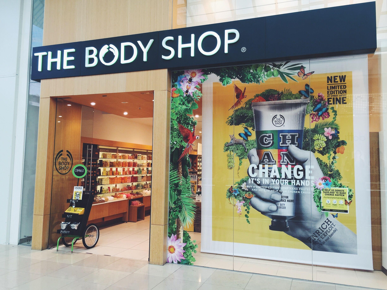 The Body Shop Store Window Featuring Change Hand Cream Body