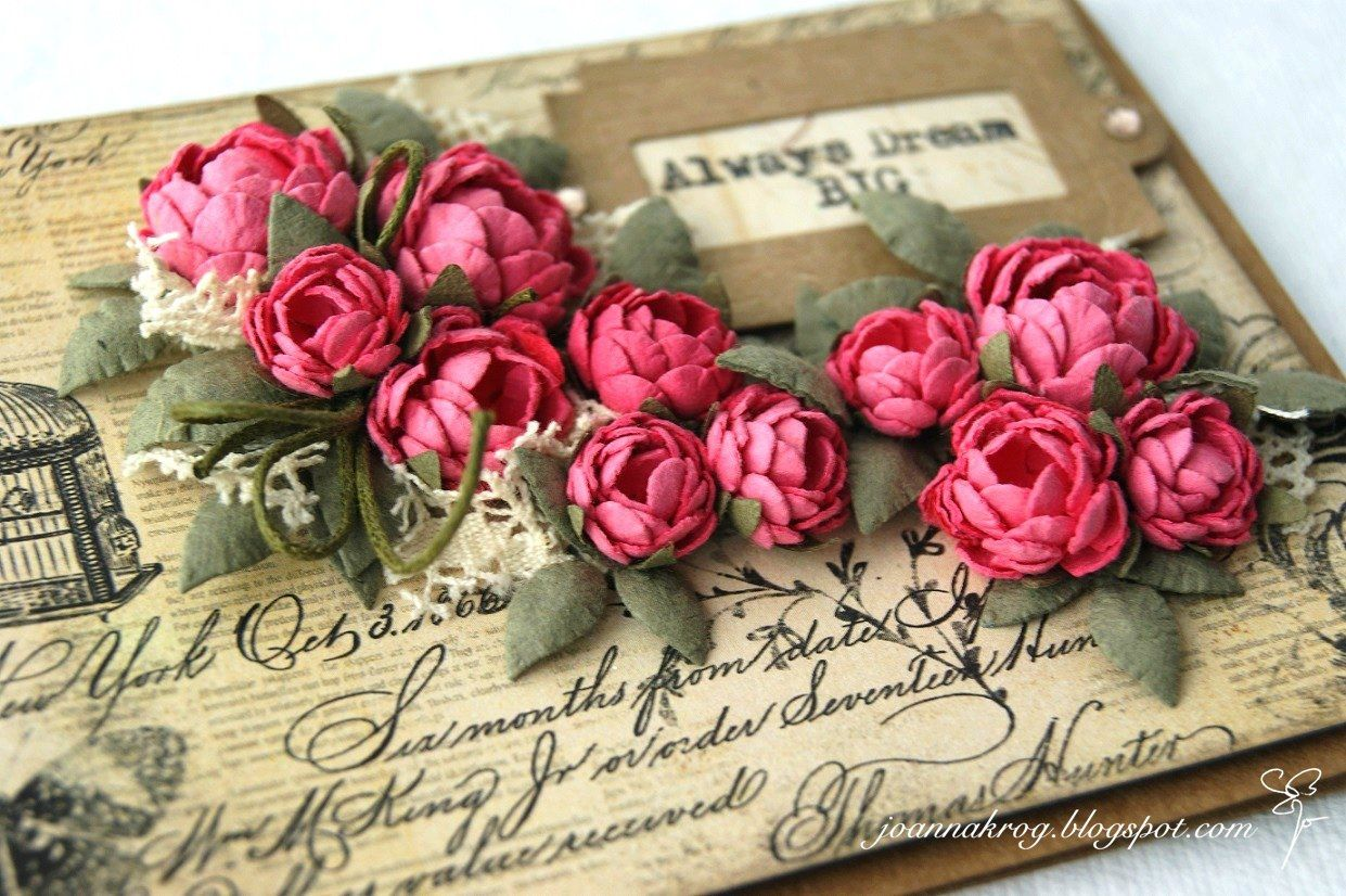 Бумажные цветы для открытки скрапбукинг