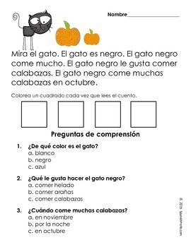 Free Easy Reading Comprehension Passages in Spanish (Fall ...