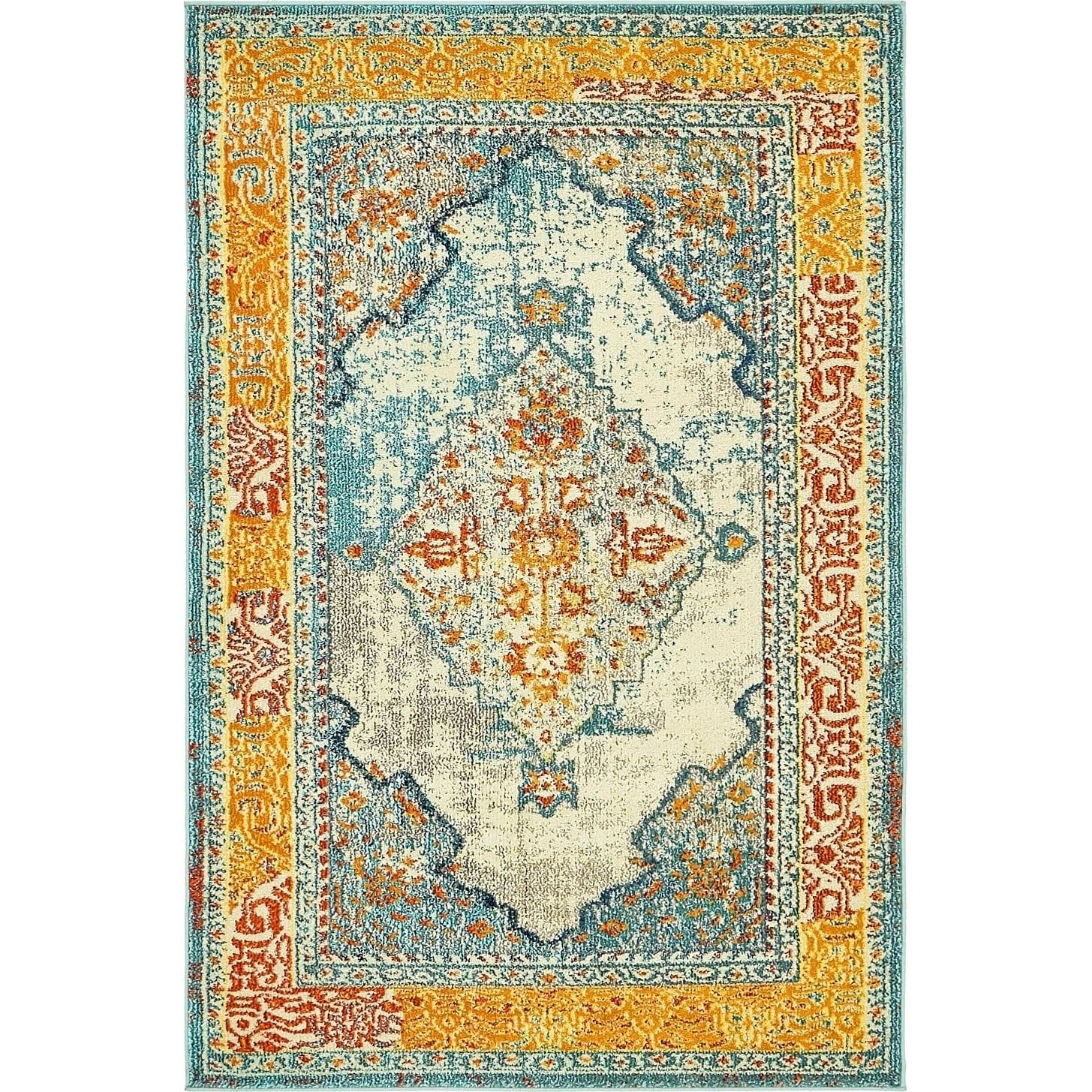 Arte Blue Yellow Medallion Area Rug 4 X 6 Ping The Best Deals On 3x5 4x6 Rugs