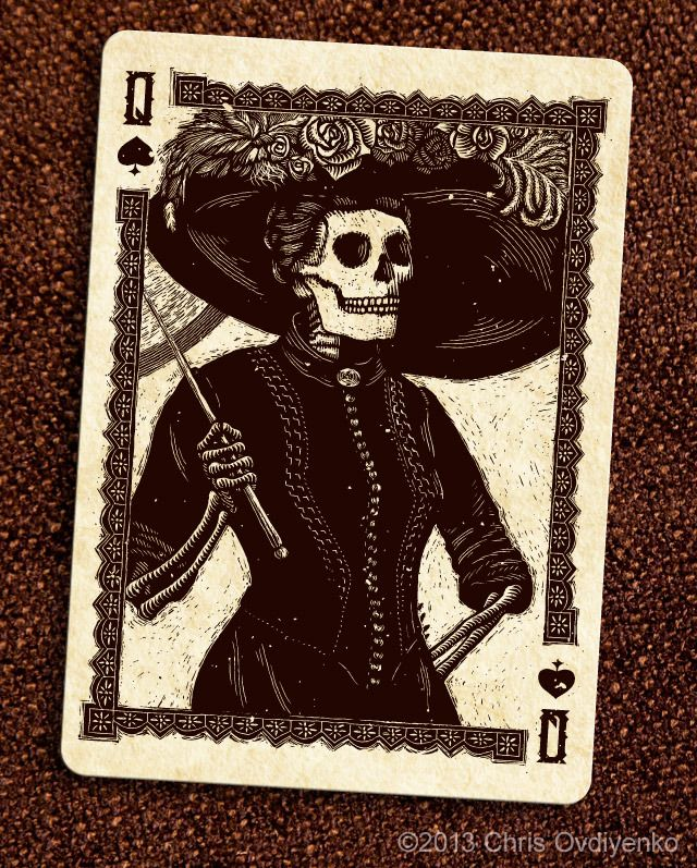 Queen of Spades Woodcut Day of the Dead inspired playing cards by Chris Ovdiyenko. #Calaveras