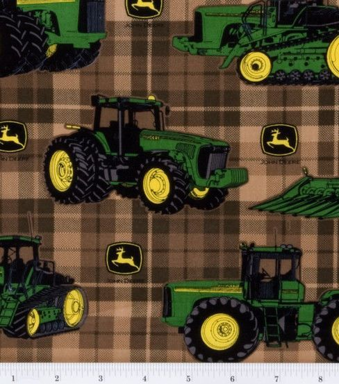 John Deere Traditional Plaid Brown Cotton Fabric 6th B Day