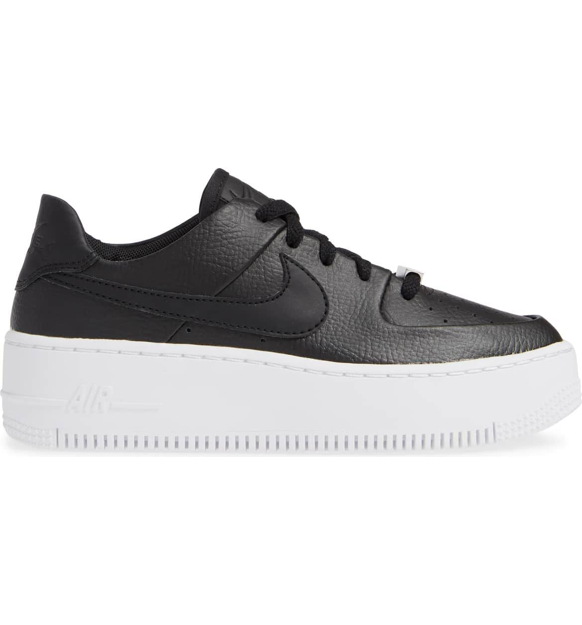 the best attitude 5bba5 cbc87 Air Force 1 Sage Low Platform Sneaker, Alternate, color, BLACK BLACK WHITE