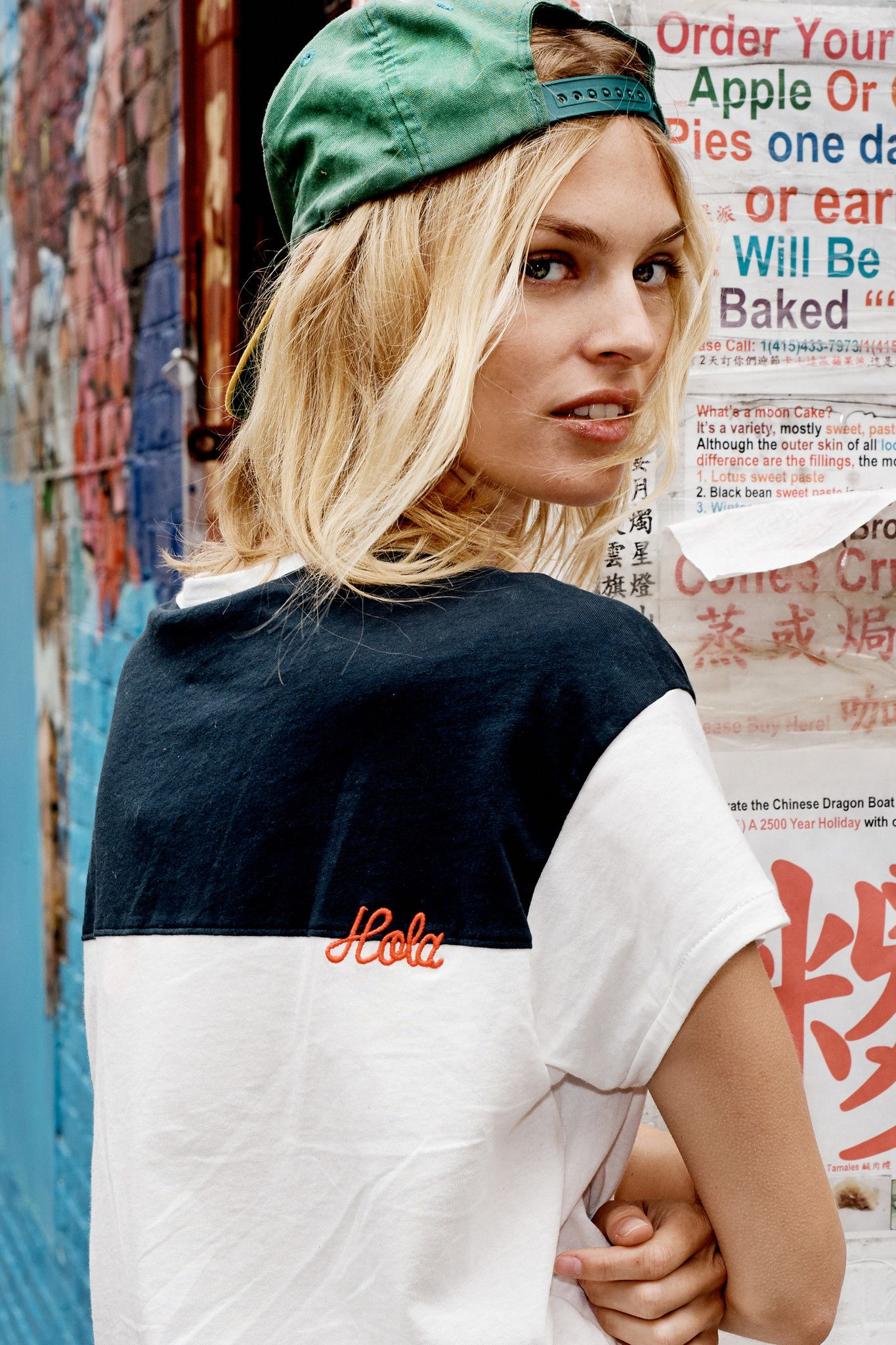 Color-blocked tee cut in vintage jersey fabrication. Featuring an embroidered graphic in Red at back. 100% cotton. Wash cold. Made in USA. Model is 5'10'' and wearing a size 1. Size Chart