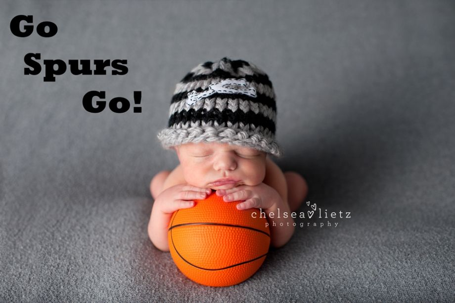 San Antonio Spurs, baby boy in spurs hat, newborn photography, Chelsea Lietz Photography, San Antonio photographer, basketball baby photos, Go spurs go