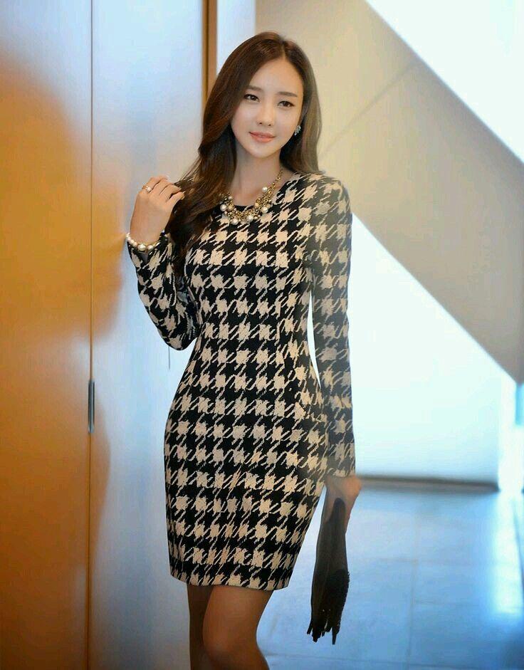 Vestido Manga Larga Modelos De Vestido Vestido Coreano Vestidos De Moda