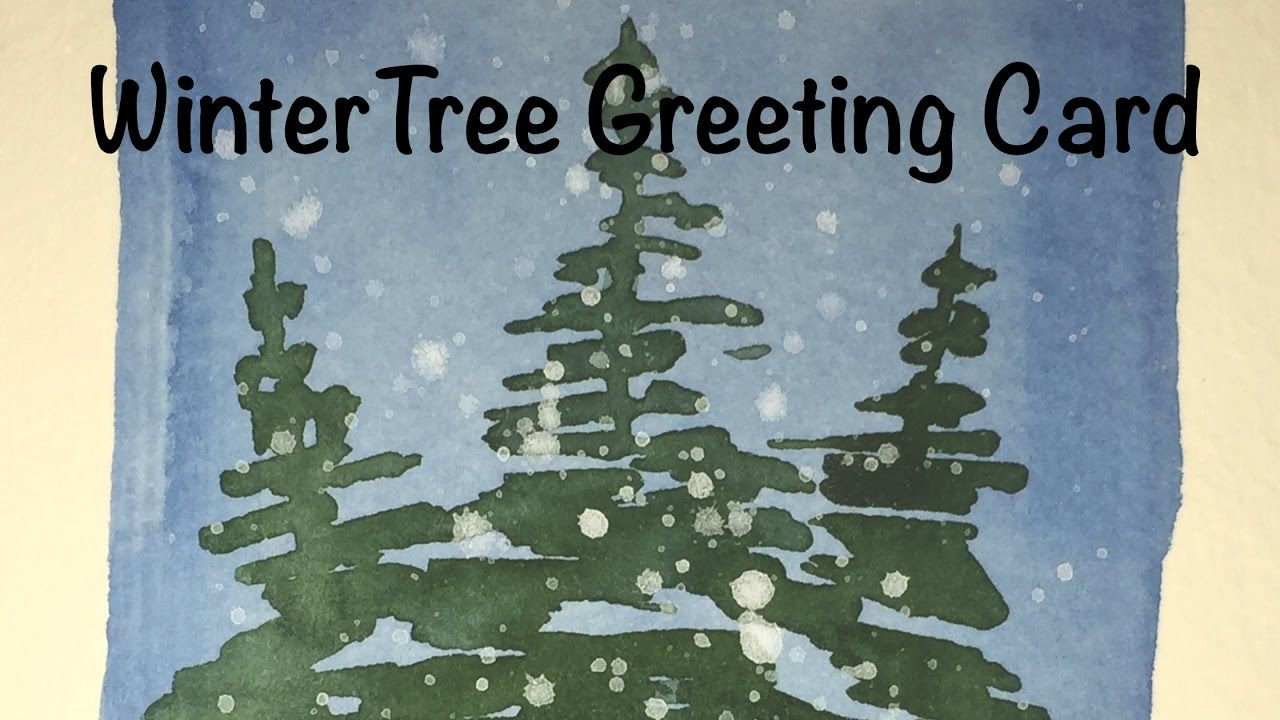 How To Paint A Winter Tree Greeting Card In Watercolor Pine Holiday