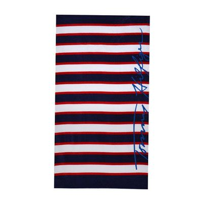 Tommy Hilfiger Navy And Red Stripe Beach Towel