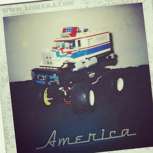 Found an old #Polaroid of a #monstertruck #MOC from a long time ago. I made this #LEGO #Model from set 5580. It was a fun build.