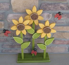 TRIPLE SUNFLOWER on stand with LADYBUGS for home decor by lisabees, $37.95