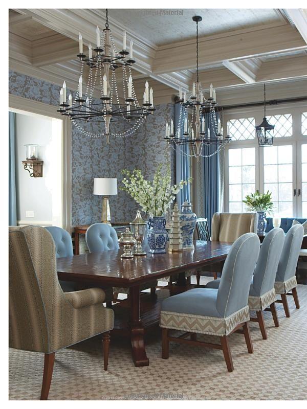 Blue! Chandelier, Formal Dining Room, Large Windows dining room