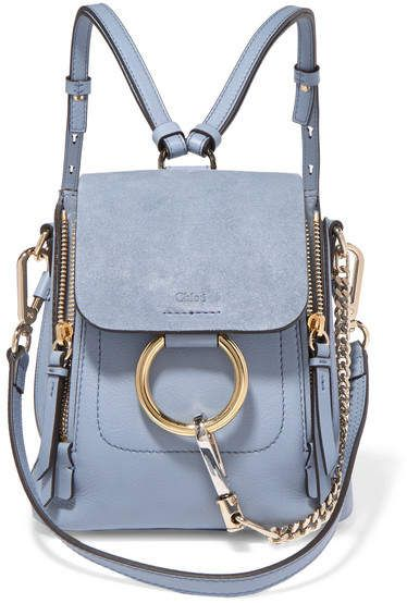 375264d4e Chloé Faye Mini Textured-leather And Suede Backpack - Light blue ...