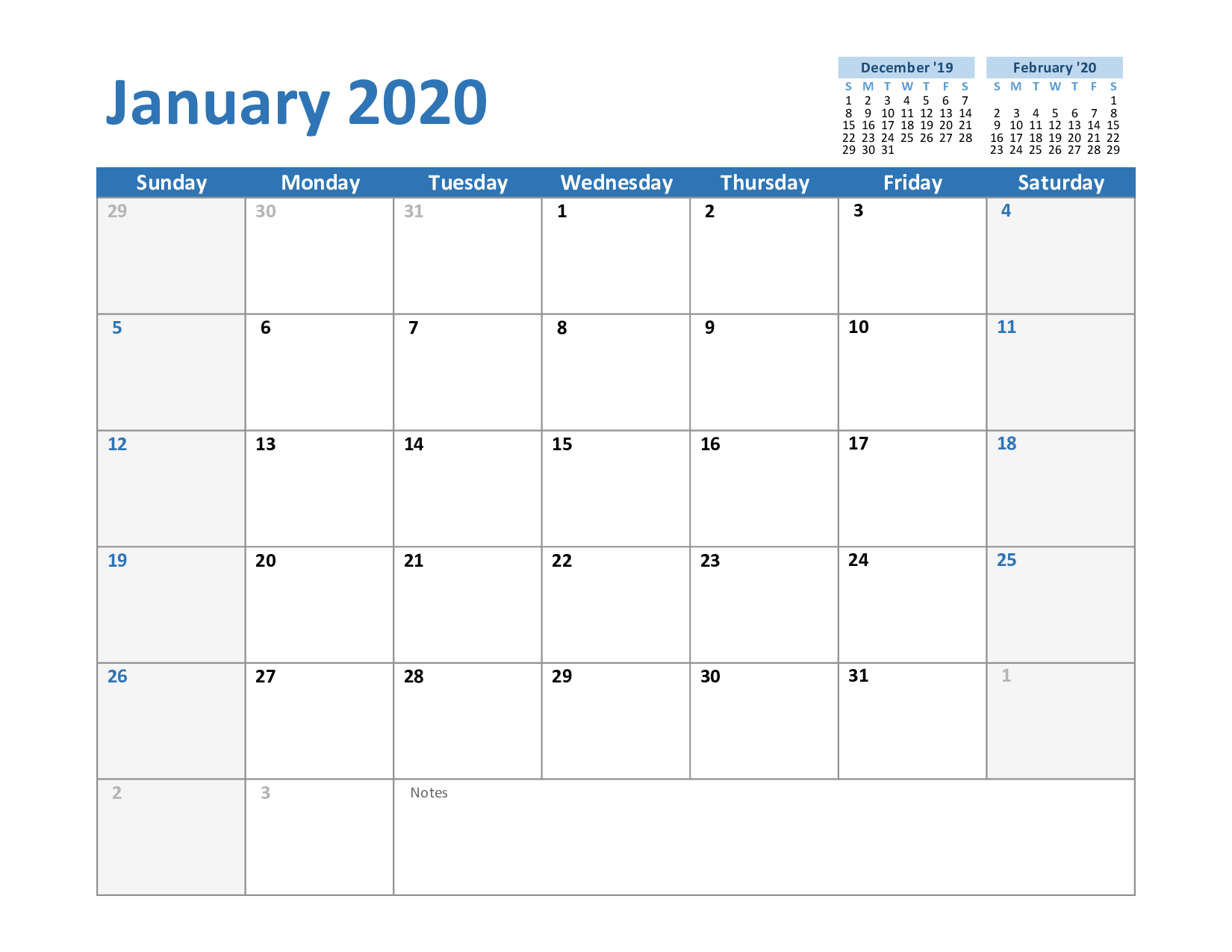 Calendrier National 2020.Free January Calendar 2020 Printable Template Blank In Pdf