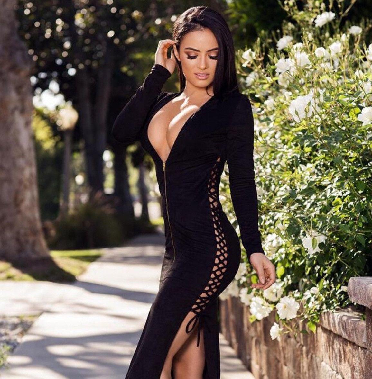 New autumn winter black hollow long sleeve sexy bodycon dress women