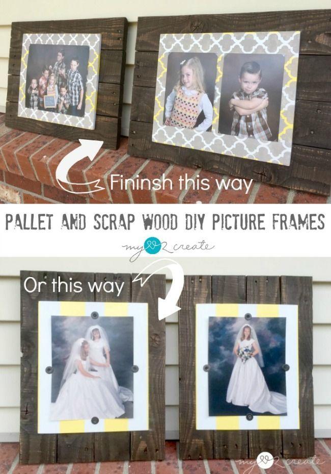 Pallet and Scrap Wood DIY Picture Frames   Pinterest