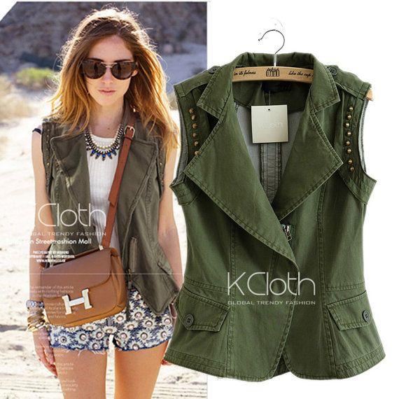 8d256243ca2ceb KCLOTH Rivet Biker Sleeveless Jacket O1313 outerwear biker jacket leather  jacket rivet stud outerwear blazers blouses coat capes coats Tops on Etsy