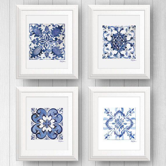 Portugal Tile, Mexican Talavera Tile Art Prints, Tile Wall Art Bundle #traveltoportugal