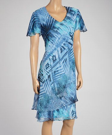 Blue Abstract Chiffon-Hem V-Neck Dress - Women & Plus by R&M Richards #zulily #zulilyfinds