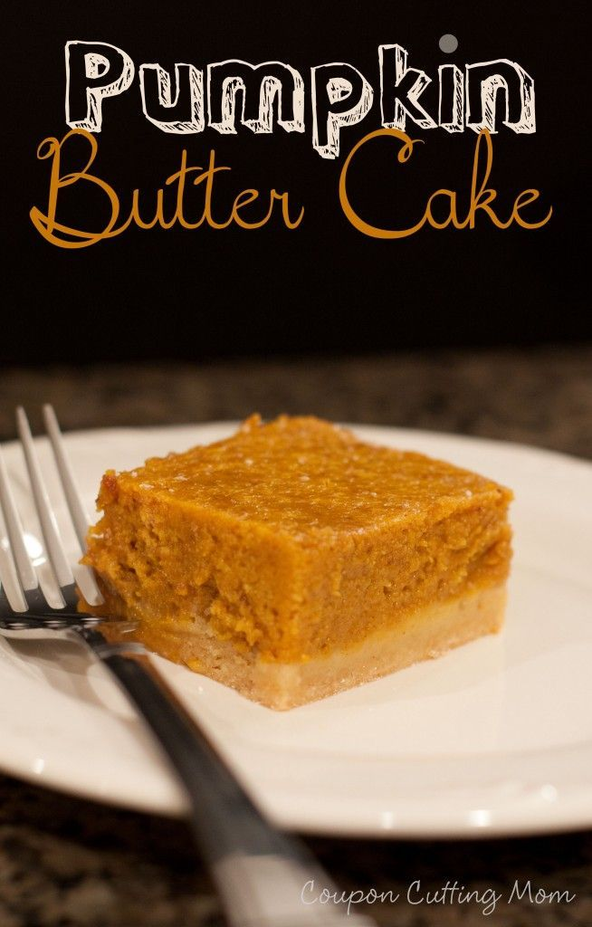 Nothing says fall like some pumpkin and this Pumpkin Butter Cake recipe combines a buttery crust, gooey cake and pumpkin. Don't try to stop with just one bite of this yummy cake.: