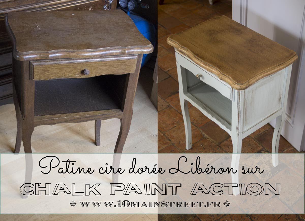 Patine A La Cire Doree Sur Chalk Paint Action Conclusion Sur Le Chevet Furniture Makeover Painted Furniture Furniture
