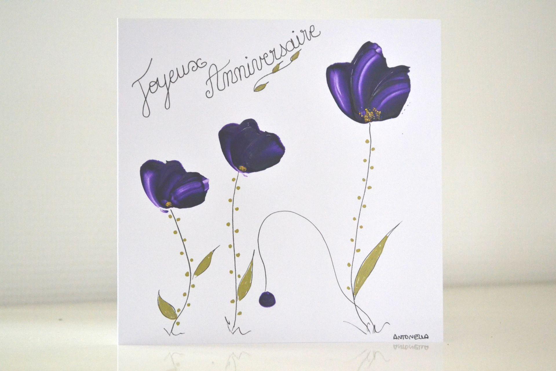 carte romantique anniversaire peinte carte joyeux. Black Bedroom Furniture Sets. Home Design Ideas