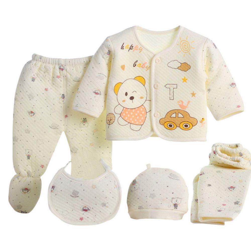 84d2601f428d 100% Cotton Cartoon Underwear Hat Bib 5pcs set Newborn Baby 0-3M ...