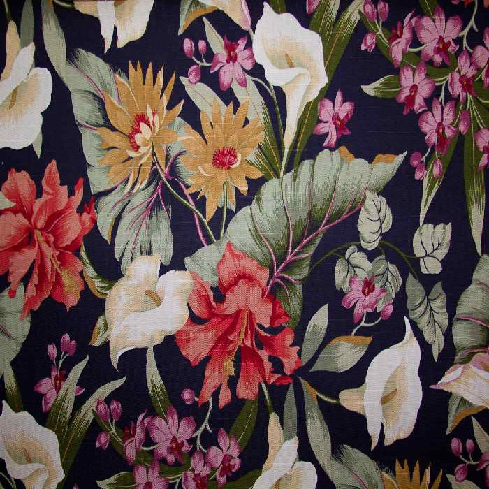 Drapery Upholstery Fabric Intensely Colorful Linen Like Floral Black Background