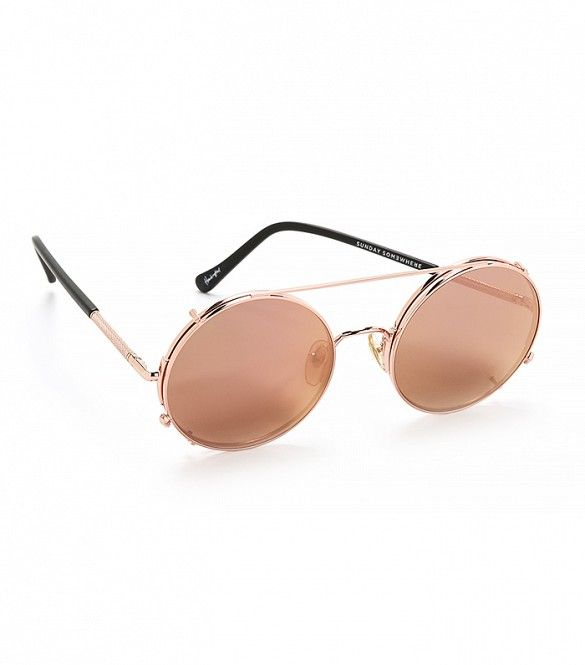 a147fb9f4265 Sunday Somewhere Valentine Sunglasses in Rose Gold Rose Gold Mirror    Round  sunglasses with mirrored lenses