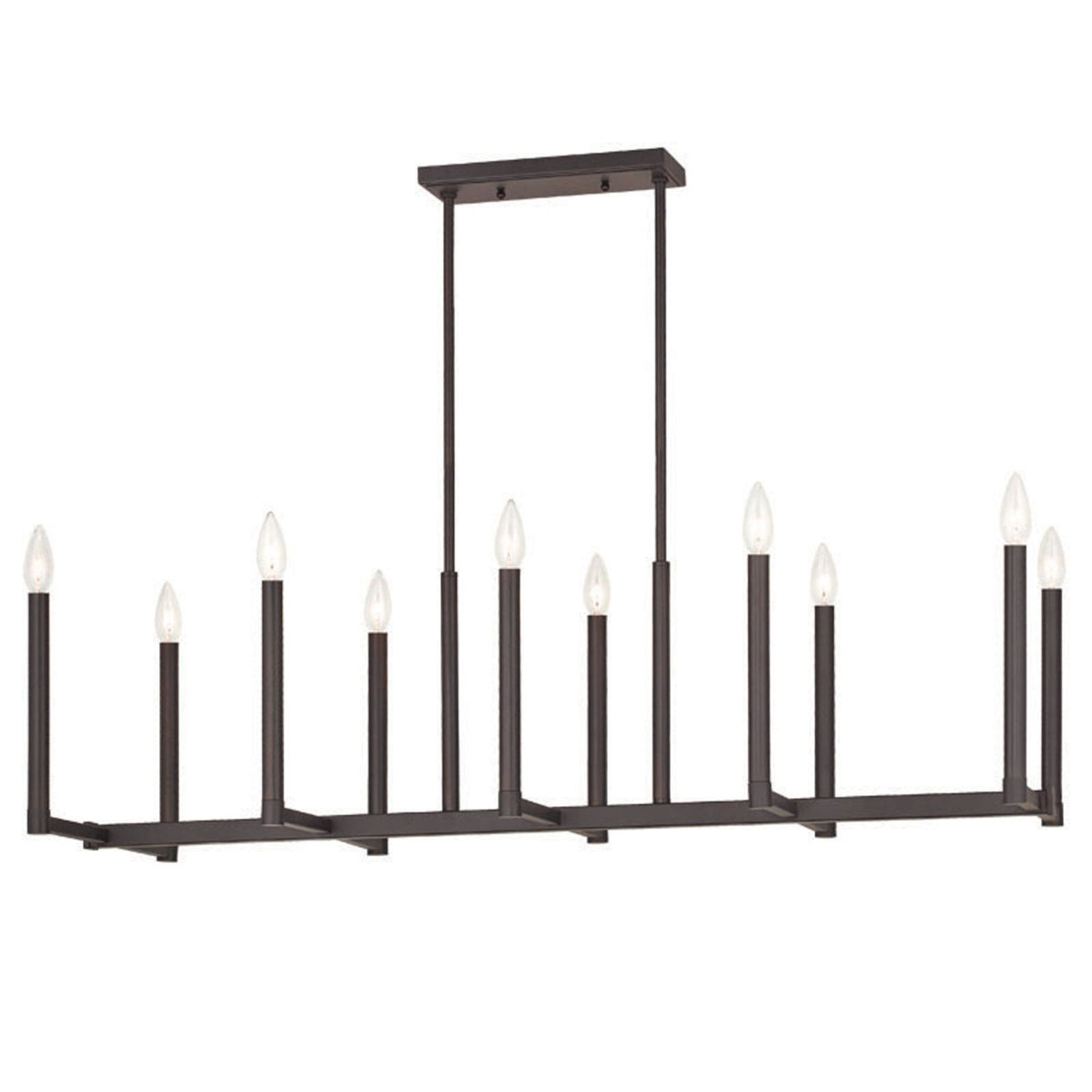 Euro Modern Candelabra Linear Chandelier 10 Light