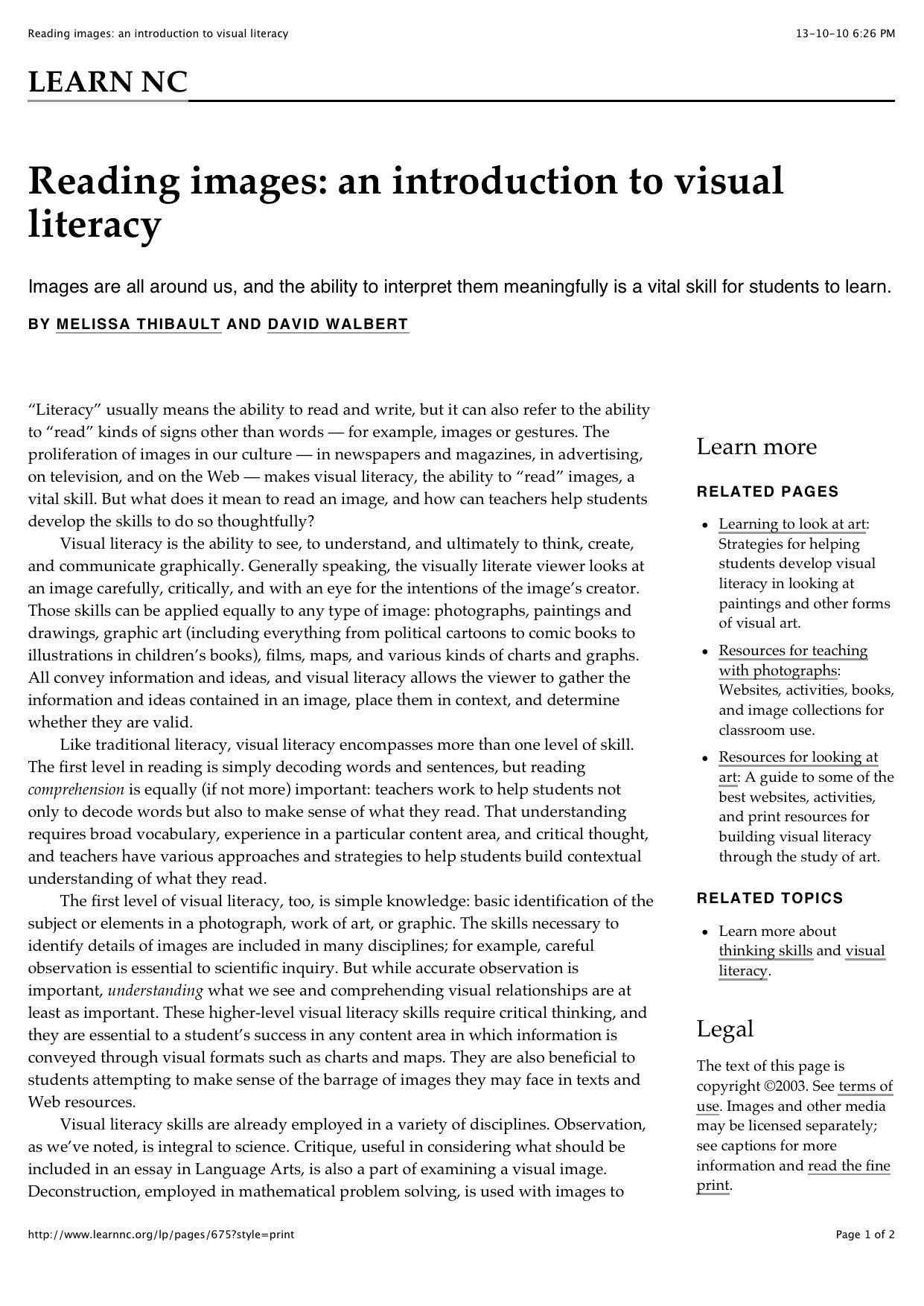Article The Authors Advocate That Visual Literacy Skills