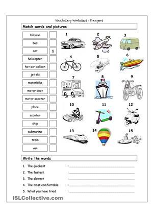 Vocabulary Matching Worksheet - Transport | English worksheets ...