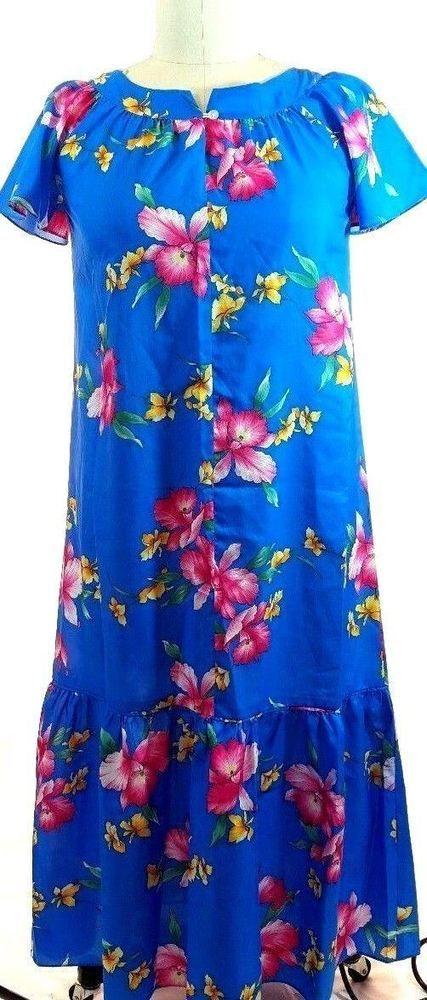 dce23d4422e9 VTG Aikane Hawaii Muu Muu Dress Blue Orchid Aloha Tropical Ruffle Vintage  EUC #Aikane #MuuMuu #SummerBeach