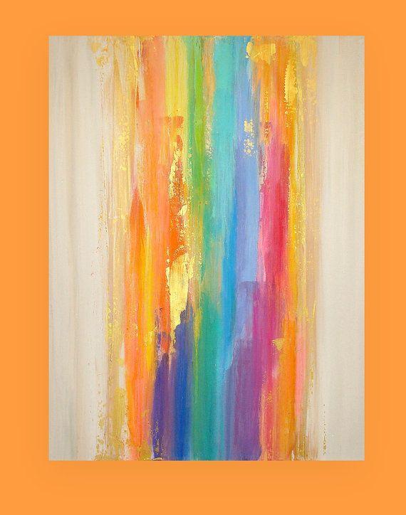 Pintura original rainbow art pintura acr lica por - Pintura acrilica paredes ...