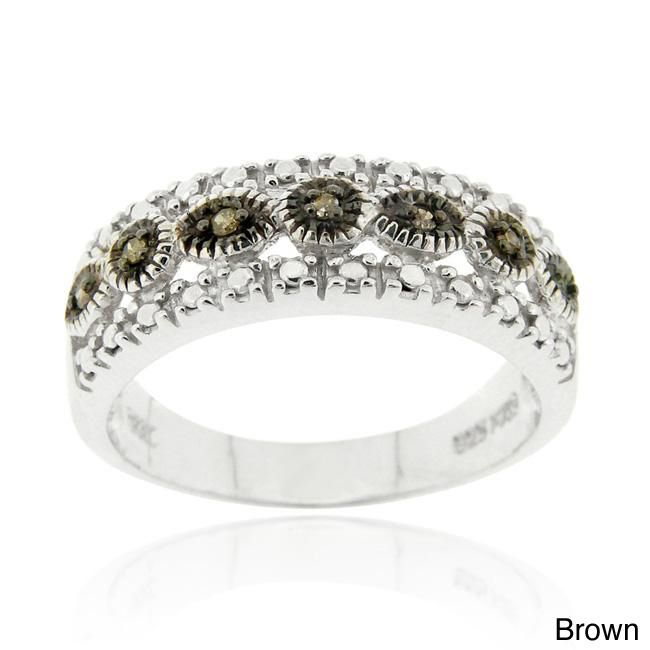 DB Designs Sterling Silver Black or Brown Diamond Accent Ring (Black - Size 9.5), Women's