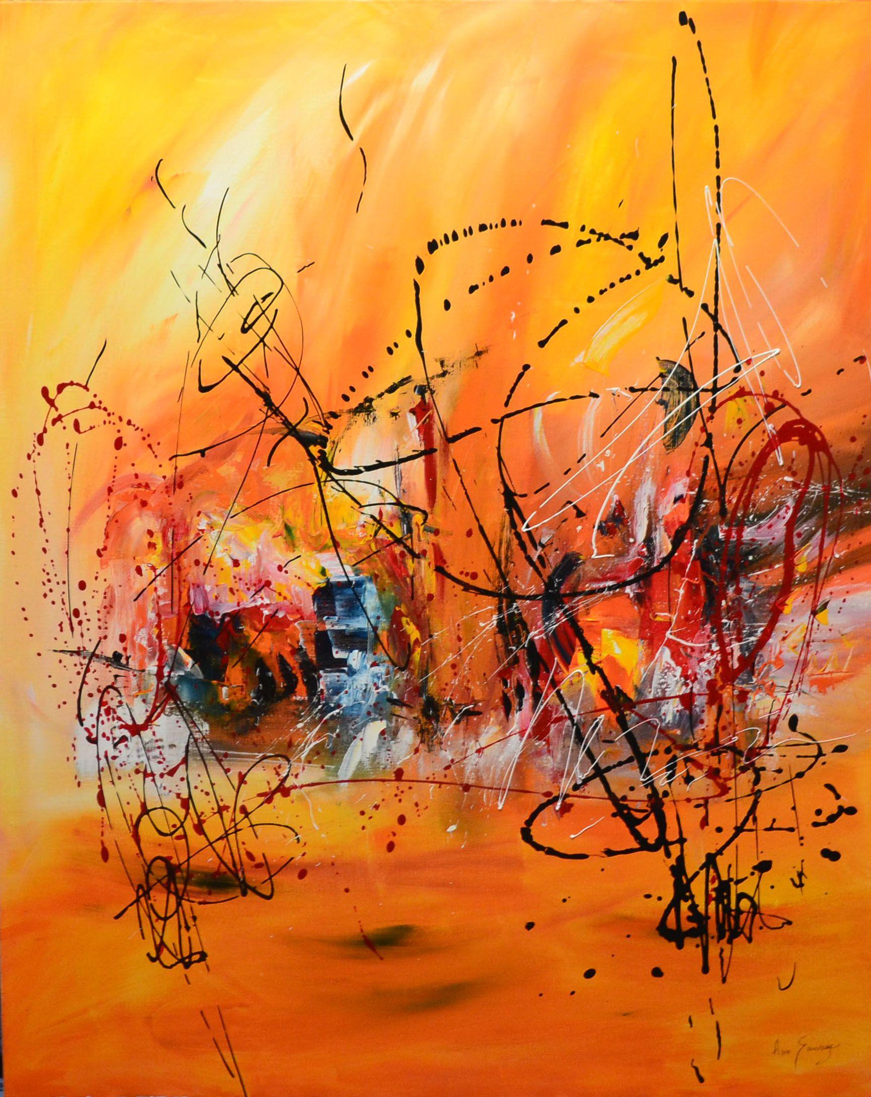 Tableau rouge et orange de grand format   Tableau abstrait, Abstrait, Grand  tableau